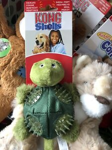KONG Small Shells Dog Toy Turtle Tough Ballistic Squeaking Textured