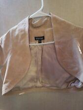 bebe junior's vest open front size Large color beige short sleeves Leather Z1