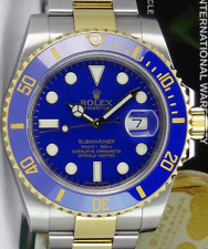 ROLEX 2013 18kt Gold & SS SUBMARINER BOX/BOOKS Blue Ceramic 116613 SANT BLANC
