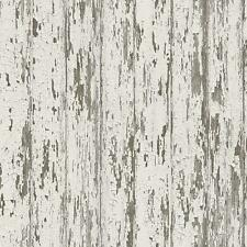Wallpaper Rustic Reclaimed Weathered Faux Wood Shiplap Planks Taupe Gray White