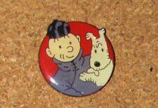 A22 VINTAGE PIN TINTIN MILOU DOG RARE ROUND A.B. ARTHUS BERTRAND