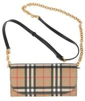 NEW BURBERRY VINTAGE CHECK LEATHER CHAIN SHOULDER STRAP BAG WALLET CLUTCH