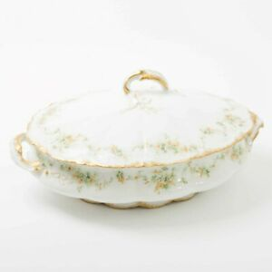 Antique Theodore Haviland Limoges Covered Casserole Dish & Lid Floral Gold Trim