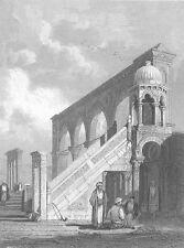 JERUSALEM MOSQUE OF OMAR COURT PULPIT ARCHES  ~ Antique 1835 Art Print Engraving
