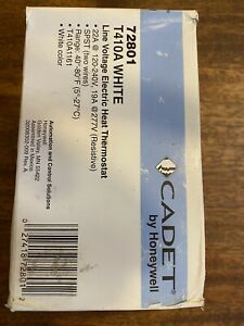 NEW Cadet Single Pole 22Amp 120/240V Wall-Mount Thermostat White T410A Honeywell