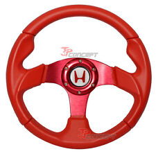 320mm JDM Racing Sport Steering Wheel Red PVC Leather Red Stitch 6-Hole w/ Emble