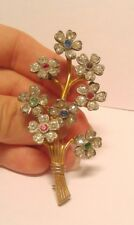Vintage Trembler Brooch Pin with 8 Trembler Flowers Cluster Rhinestone