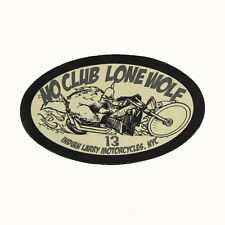 Biker Chopper Indian Larry No Club Lone Wolf Echt Leder Aufnäher Leather Patch