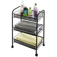 Utility Cart Trolley Organizer Storage 2Shelf Tier Wagon Rolling Salon SpaYM101A