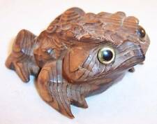 "Vintage 2-3/4"" Hand Carved Cryptomeria (Japanese Cedar) Wood Frog Figurine Japan"