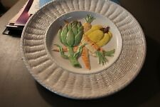 "Ff Fitz & Floyd 11"" Vegetable Plate Basket Weave Artichoke Carrots Pepper"