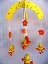 BN WOODEN YELLOW DUCK MOBILE  - GREAT GIFT IDEA