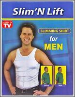 LARGE MENS SLIMMING VEST SHIRT BODY SHAPER ABDOMEN COMPRESSION ABS T SHIRT L UK