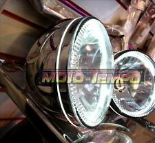 "HALO Headlight 5 3/4"" inch Hi Chrome Metal Body Glass Lens Side Mount Motorcycle"