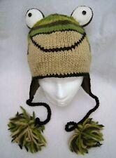 Knit FROG Hat ADULT head mask FLC LINED animal costume ski cap UNISEX green gift