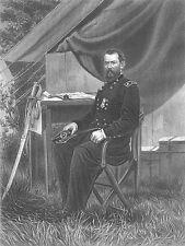 Civil War General PHILIP SHERIDAN SCORCHED EARTH TACTIC 1865 Art Print Engraving