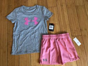 New Under Armour Girls Heat Gear Shorts/Top Set ~ Size 6