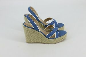 Colin Stuart Womens Wedge Sandals Size 8.5 B French Blue Tan