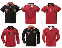 Manchester United Official Football Boys Crest Polo T-shirt Red/Black Age 3-12