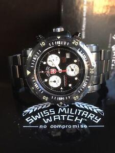 CX SWISS MILITARY Seawolf SW1 Men's Black Diver Chrono Quartz Watch 1000M Ø44MM