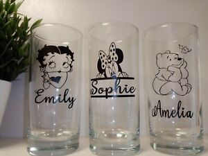 ♡ Personalised Glass drinking Tumblers  Disney Themes Minnie Mouse/Betty boop ♡
