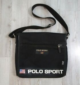 Ralph Lauren Polo Sport Black Side Crossbody Messenger Satchel Bag Vintage
