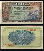 Año 1940. 5 Pesetas Alcázar de Segovia. Serie A nº 1244799. ESCASO-BONITO. EBC.