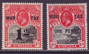 St Helena 1916 SC MR1-MR2 MH Set War Tax