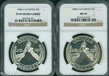 New listing 1988-D & 1988-S Olympic Silver Dollar S$1 Ngc Ms69 Pr69 Pf69 2-Coins Set