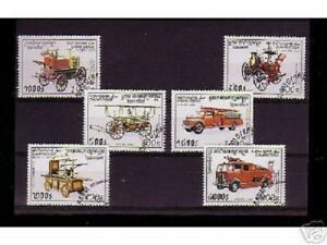 0805++CAMBODGE   SERIE TIMBRES VOITURES  POMPIERS