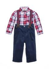 LITTLE ME® Baby 18M Red Plaid 3-Pc. Shirt, Suspenders & Corduroy Pant Set NWT