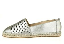 Vince Camuto Womens Silver Metallic Perforated Leather Espadrilles Size 9.5 M