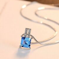 Silberkette Anhänger 925er Sterling Silber Blau Topas VVS Rhodiniert Halskette