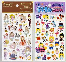 Lot 2 Alice in Wonderland Stickers Sheet 1 Puffy Sheet Kawaii US FastShipping