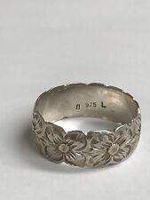 Vintage Signed L 925 Sterling Silver Flower Band Ring Size 8