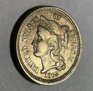 1865 3 Cent Nickel Au/Bu Uncertified
