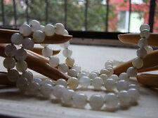 antique 26 inch necklace JADEITE / jade ICE WHITE translucent w/14k RE-STRUNG!