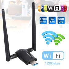 1200Mbps WiFi Adapter 2.4/5.8GHz Band WLAN Empfänger Stick 2 Antenne USB 3.0Dual
