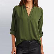 Women Summer Chiffon Tab-Sleeve Ladies Loose Blouse V Neck T-Shirt Top Shirt