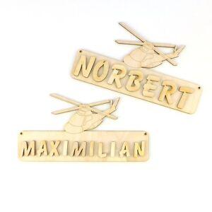 Türschild Namensschild Kinderzimmer ,  Buchstaben, 18cm Holz Hubschrauber