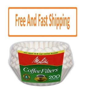 Melitta 4-6 Cup White Basket Coffee Filter, 200 Ct