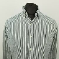 Polo Ralph Lauren Men Vintage Shirt MEDIUM Long Sleeve White Custom Fit Striped