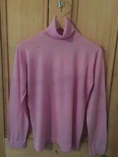 Vtg 90s Pink Lilac Wool John Smedley Alexa Poloneck Jumper Sweater M L 12 14