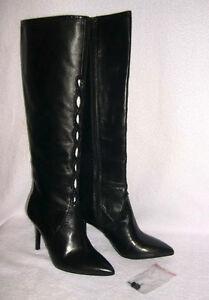 New Elie Tahari Mischa Leather Lattice Knee-High Boots Sz 37 US 6.5