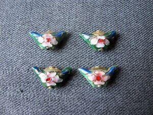4 Vintage nice colors & shape double sided cloisonne enamel flower loose beads