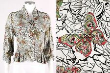 Vtg 1930s White Multicolor Butterfly Graphic Print Blouse Top Jacket Sz S