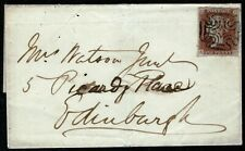 "1841 ONE PENNY RED-BROWN 1d SG8 ""AH"" ON COVER CANCELLED BY GREENOCK MALTSE CROSS"