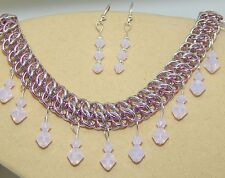 & Crystal Earrings Set Hand-Made Anodised Aluminium Chain Maille
