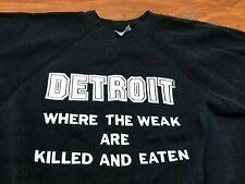 Mens Vtg 80'S 90'S Detroit Where The Weak Are Killed Rap Hip Hop Sweatshirt S/M