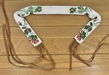 vtg NATIVE AMERCIAN CHIPPEWA OJIBWE BEADED FLORAL BEADWORK BUCKSKIN SASH BELT